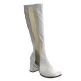 Weiss Lack 8,5 cm GOGO-303 High Heels Damenstiefel für Männer