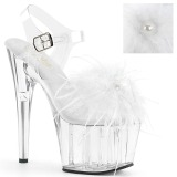 Weiss Marabou Federn 18 cm ADORE-708MF pole dance high heels
