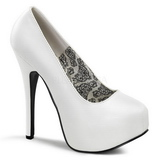 Weiss Matt 14,5 cm Burlesque BORDELLO TEEZE-06 Plateau Pumps