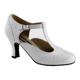 Weiss Matt 7,5 cm FLAPPER-26 Damen Pumps Schuhe Flach