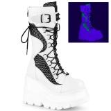 Weiss Neon 11,5 cm SHAKER-70 damen cyberpunk plateaustiefel