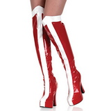 Weiss Rot 13 cm ELECTRA-2090 overknee stiefel mit plateausohle