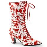 Weiss Rot 7 cm VICTORIAN-120BL Damen Stiefeletten mit Schnürsenkel