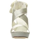 Weiss Satin 12 cm LUMINA-29 Hohe Abend Sandaletten mit Absatz
