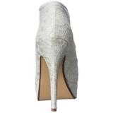 Weiss Satin 13 cm LOLITA-32 Hohe Pumps Abend Schuhe mit Absatz