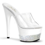 Weiss Strass 18 cm Pleaser ADORE-701-3 Plateau Mules High Heels