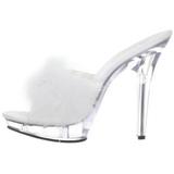 Weiss Transparent 13 cm LIP-101-8 Platform Damen Mules Schuhe
