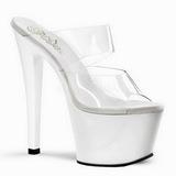 Weiss Transparent 18 cm SKY-302 Platform Damen Mules Schuhe
