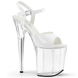 Weiss Transparent 20 cm Pleaser FLAMINGO-809 Plateau High Heels
