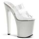 Weiss Transparent 20 cm XTREME-802 Platform Damen Mules Schuhe