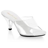 Weiss Transparent 8 cm BELLE-301 Damen Mules Schuhe