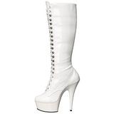 Weiss lackstiefel 15,5 cm DELIGHT-2023 plateau schnürstiefel high heels