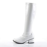 Weiße lackstiefel blockabsatz 5 cm - 70er jahre hippie disco kniehohe boots gogo