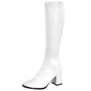 Weiße stiefel blockabsatz 7,5 cm vinylleder - 70er jahre hippie disco kniehohe boots gogo