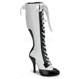 White 11,5 cm TEMPT-126 High Heeled Lace Up Boots