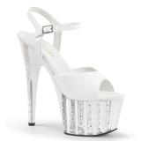 White 18 cm ADORE-709VLRS rhinestone platform high heels