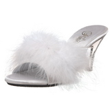 White 8 cm BELLE-301F Marabou Feathers Mules Shoes