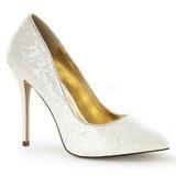 White Glitter 13 cm AMUSE-20G High Heeled Evening Pumps Shoes