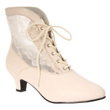 White Lace Fabric 5 cm DAME-05 Lace Up Ankle Calf Women Boots