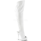 White Leatherette 15 cm DELIGHT-3019 Platform Thigh High Boots