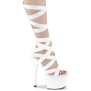 White Leatherette 18 cm ADORE-700-48 high heels with ankle laces