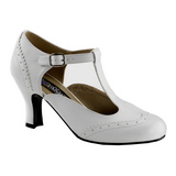 White Matte 7,5 cm FLAPPER-26 Women Pumps Shoes Flat Heels