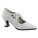 White Matte 7 cm VICTORIAN-03 Women Pumps Shoes Flat Heels