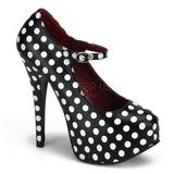 White Points 14,5 cm TEEZE-08 Black Platform Pumps Shoes