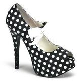 White Points 14,5 cm TEEZE-25 Black Platform Pumps Shoes