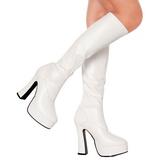 White Pu 13 cm Pleaser ELECTRA-2000Z Platform Knee Boots