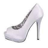 White Satin 13,5 cm BELLA-12R Rhinestone Platform Pumps Shoes