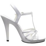White Shiny 12 cm FLAIR-420 Womens High Heel Sandals