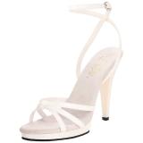 White Shiny 12 cm FLAIR-436 Womens High Heel Sandals