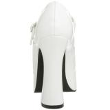 White Shiny 13 cm DOLLY-50 Mary Jane Platform Pumps