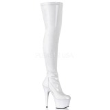 White Shiny 18 cm ADORE-3000 High Heeled Overknee Boots