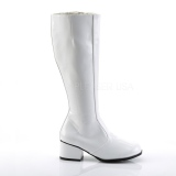 White Shiny 5 cm GOGO High Heeled Womens Boots for Men