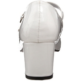 White Shiny 5 cm SCHOOLGIRL-50 Low Heeled Classic Pumps Shoes