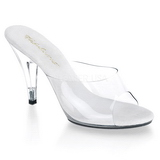 White Transparent 11 cm CARESS-401 Women Mules Shoes