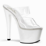 White Transparent 18 cm SKY-302 Plateau Women Mules Shoes