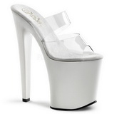 White Transparent 20 cm XTREME-802 Plateau Women Mules Shoes