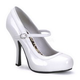 White Varnished 12 cm PRETTY-50 Women Pumps Shoes Flat Heels