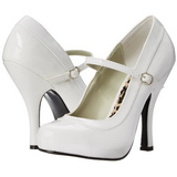 White Varnished 12 cm rockabilly PRETTY-50 Pumps with low heels