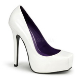 White Varnished 14 cm BONDAGE-01 Women Pumps Shoes Flat Heels
