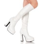 White platform boots vinyl 13 cm - 70s years hippie disco gogo kneeboots chunky